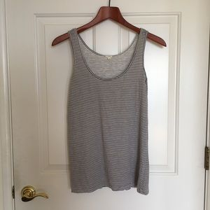 J Crew grey and white cotton striped tank top